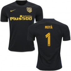 Kid's 16/17 Atletico Madrid #1 Miguel Angel Moya Black Away Authentic Jersey