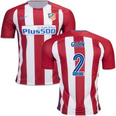 Kid's 16/17 Atletico Madrid #2 Diego Godin Red/White Stripes Home Authentic Jersey