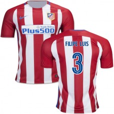 2016/17 Atletico Madrid #3 Filipe Luis Red/White Stripes Home Replica Jersey - 16/17 La Liga Soccer Shirt