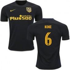 2016/17 Atletico Madrid #6 Koke Black Away Authentic Jersey - 16/17 La Liga Soccer Shirt