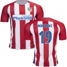 2016/17 Atletico Madrid #19 Lucas Hernandez Red/White Stripes Home Replica Jersey - 16/17 La Liga Soccer Shirt