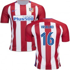 Kid's 16/17 Atletico Madrid #16 Sime Vrsaljko Red/White Stripes Home Authentic Jersey