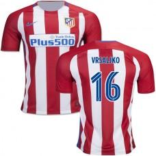 2016/17 Atletico Madrid #16 Sime Vrsaljko Red/White Stripes Home Replica Jersey - 16/17 La Liga Soccer Shirt