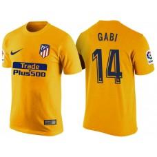 Atletico Madrid #14 Gabi Yellow T-Shirt
