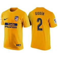 Atletico Madrid #2 Diego Godin Yellow T-Shirt