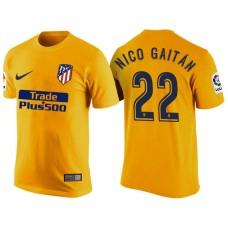 Atletico Madrid #22 Nicolas Gaitan Yellow T-Shirt