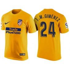 Atletico Madrid #24 Jose Gimenez Yellow T-Shirt