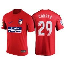 Atletico Madrid #29 Angel Correa Red T-Shirt
