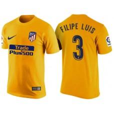 Atletico Madrid #3 Filipe Luis Yellow T-Shirt