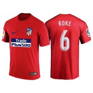 Atletico Madrid #6 Koke Red T-Shirt