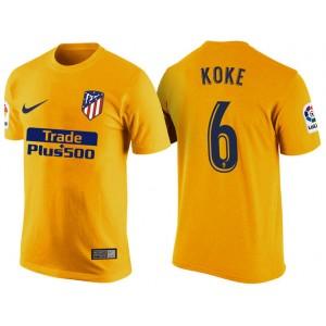 Atletico Madrid #6 Koke Yellow T-Shirt
