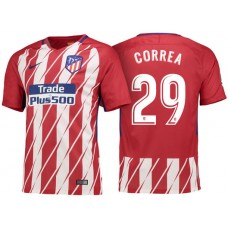 Angel Correa #29 Atletico Madrid 2017/18 Red White Stripes Home Replica Jersey