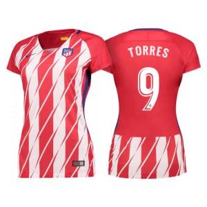 Women - Fernando Torres #9 Atletico Madrid 2017/18 Red White Stripes Home Replica Jersey