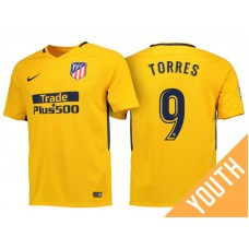 Youth - Fernando Torres #9 Atletico Madrid 2017/18 Gold Away Replica Jersey