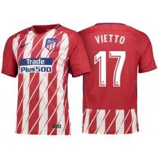 Luciano Vietto #17 Atletico Madrid 2017/18 Red White Stripes Home Replica Jersey