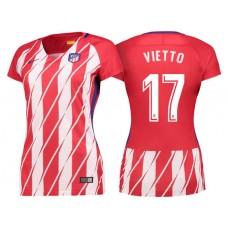 Women - Luciano Vietto #17 Atletico Madrid 2017/18 Red White Stripes Home Replica Jersey