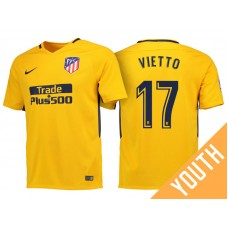 Youth - Luciano Vietto #17 Atletico Madrid 2017/18 Gold Away Authentic Jersey