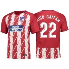 Nicolas Gaitan #22 Atletico Madrid 2017/18 Red White Stripes Home Authentic Jersey