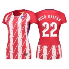 Women - Nicolas Gaitan #22 Atletico Madrid 2017/18 Red White Stripes Home Authentic Jersey