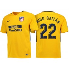 Nicolas Gaitan #22 Atletico Madrid 2017/18 Gold Away Authentic Jersey