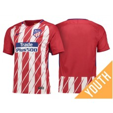 Youth - 2017/18 La Liga Atletico Madrid Red White Stripes Home Jersey