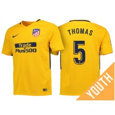 Youth - Thomas Partey #5 Atletico Madrid 2017/18 Gold Away Replica Jersey