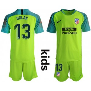 KIDs Atletico Madrid #13 OBLAK Fluorescent Green Goalkeeper Jersey