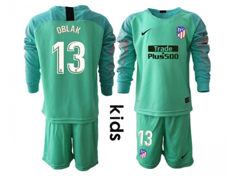 KIDs Atletico Madrid  13 OBLAK Green Goalkeeper Long Sleeve Jersey 8868c5c34