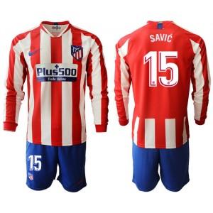 2019/20 Atletico Madrid #15 Stefan Savic Home Long Sleeves Jersey