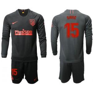 2019/20 Atletico Madrid #15 Stefan Savic Away Black Long Sleeves Jersey