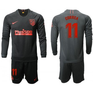 2019/20 Atletico Madrid #11 Angel Correa Away Black Long Sleeves Jersey