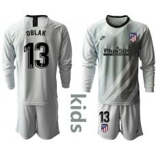 Youth 2019/20 Atletico Madrid #13 Oblak Gray Long Sleeve Goalkeeper Jersey