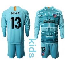 Youth 2019/20 Atletico Madrid #13 Oblak Lake Blue Long Sleeve Goalkeeper Jersey