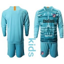 Youth 2019/20 Atletico Madrid Lake Blue Long Sleeve Goalkeeper Jersey