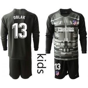 Youth 2019/20 Atletico Madrid #13 Oblak Black Long Sleeve Goalkeeper Jersey