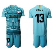 Youth 2019/20 Atletico Madrid #13 Oblak Lake Blue Goalkeeper Jersey