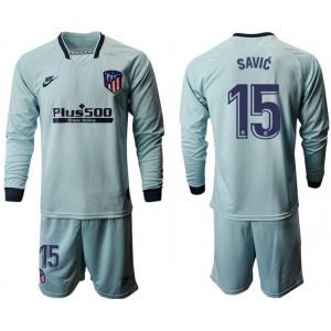 2019/20 Atletico Madrid #15 Stefan Savic Away Light Blue Long Sleeves Jersey