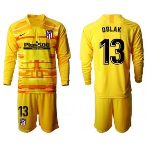 2019/20 Atletico Madrid #13 Oblak Yellow Goalkeeper Long Sleeve Jersey