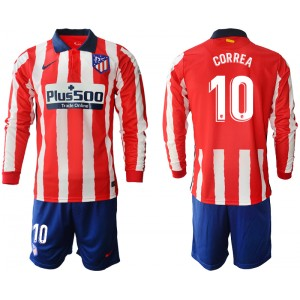 2020-21 Atletico Madrid Angel Correa #10 Red White Stripe Home Long-sleeved Jersey