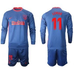 2020-21 Atletico Madrid Thomas Lemar #11 Navy Away Long-sleeved Jersey