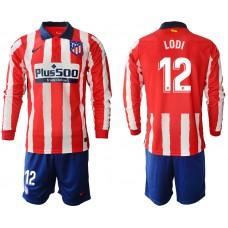 2020-21 Atletico Madrid Renan Lodi #12 Red White Stripe Home Long-sleeved Jersey