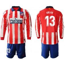 2020-21 Atletico Madrid Oblak #13 Oblak Red White Stripe Home Long-sleeved Jersey