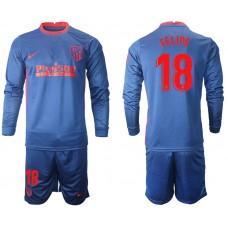 2020-21 Atletico Madrid Felipe #18 Navy Away Long-sleeved Jersey