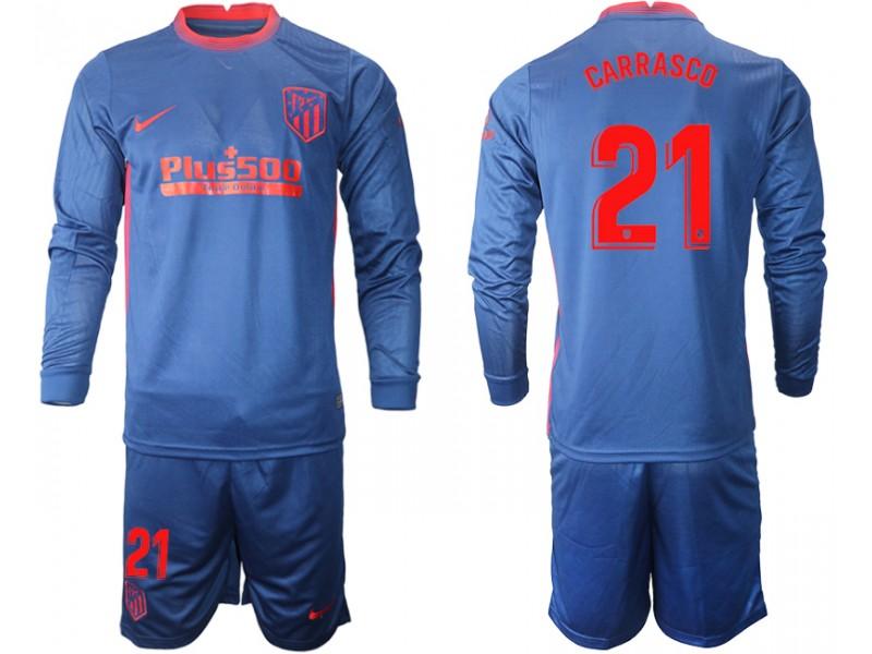 2020-21 Atletico Madrid Yannick Carrasco #21 Navy Away Long-sleeved Jersey