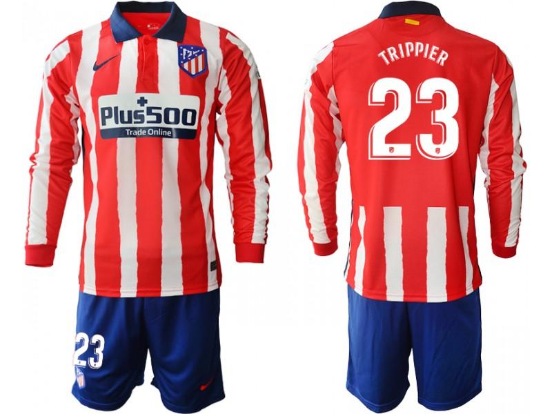 2020-21 Atletico Madrid Kieran Trippier #23 Red White Stripe Home Long-sleeved Jersey