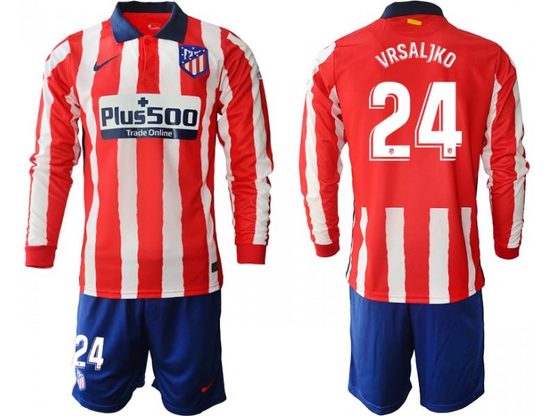 2020-21 Atletico Madrid Sime Vrsaljko #24 Red White Stripe Home Long-sleeved Jersey