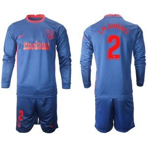 2020-21 Atletico Madrid Jose Gimenez #2 Navy Away Long-sleeved Jersey