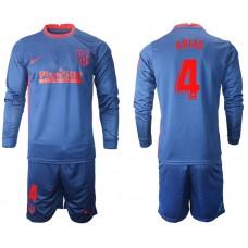 2020-21 Atletico Madrid Santiago Arias #4 Navy Away Long-sleeved Jersey