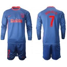 2020-21 Atletico Madrid Joao Felix #7 Navy Away Long-sleeved Jersey