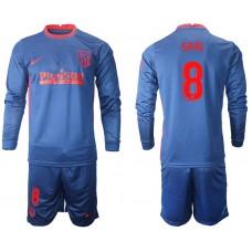 2020-21 Atletico Madrid Saul #8 Navy Away Long-sleeved Jersey